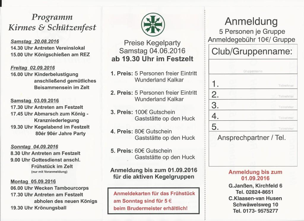 Programm Schützenfest Hönnepel 2016